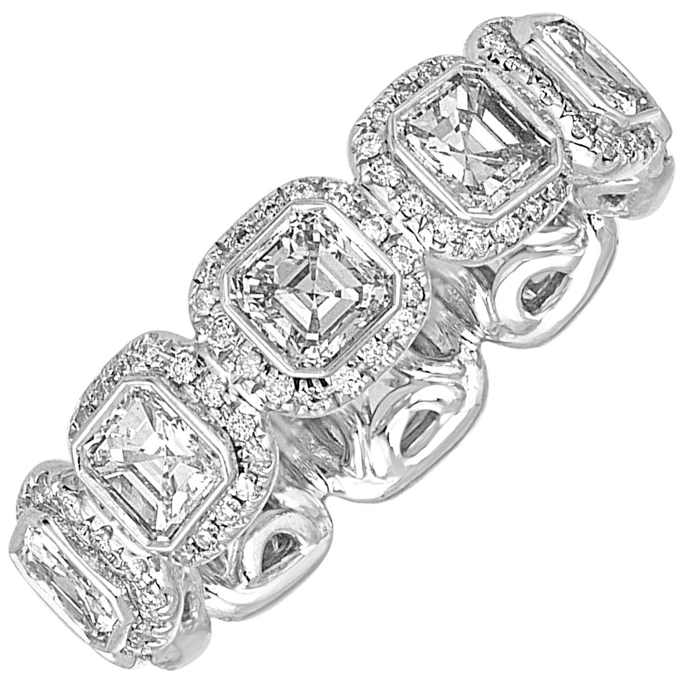 3.22 Carats Asscher Cut Eternity Diamond Platinum Band Ring