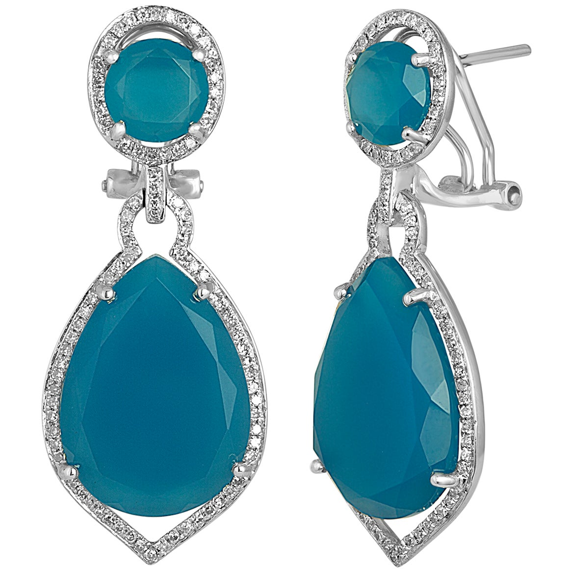 19.21 Carats Blue Agate Diamond Gold Earrings