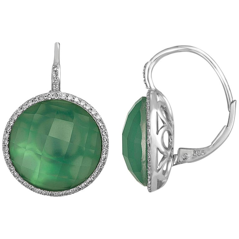 Doublet White Topaz Green Agate Diamond Gold Earrings For Sale