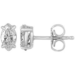 0.70 Carats Marquise Diamond Gold Stud Earrings