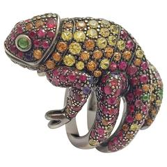 Boucheron Sapphire Tsavorite Ruby Blackened Gold Chameleon Ring