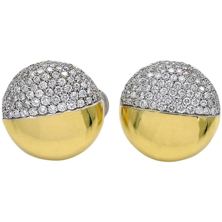 Modern Round Diamond Gold Clip-On Earrings For Sale