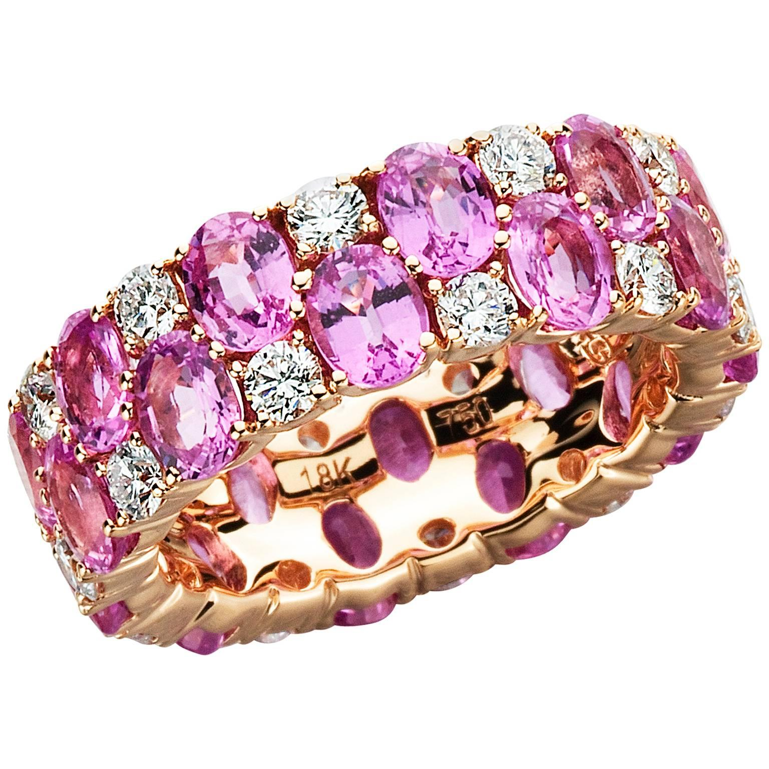 Pink Sapphire Diamond Gold Ring at 1stdibs