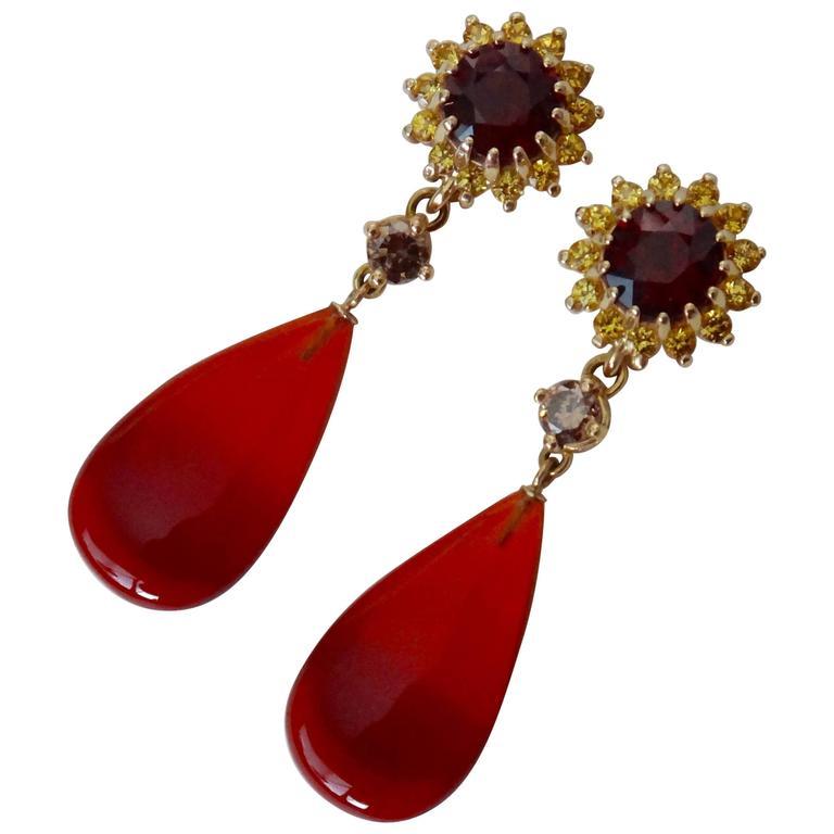 Michael Kneebone Garnet Yellow Shire Mexican Fire Opal Diamond Drop Earrings For