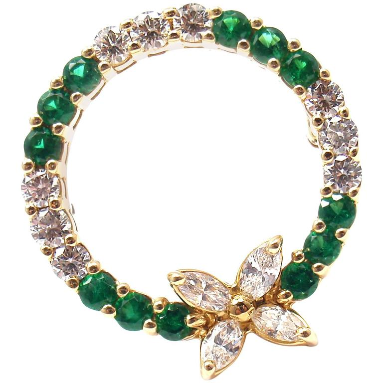 Tiffany & Co. Victoria Emerald Diamond Gold Pin Brooch