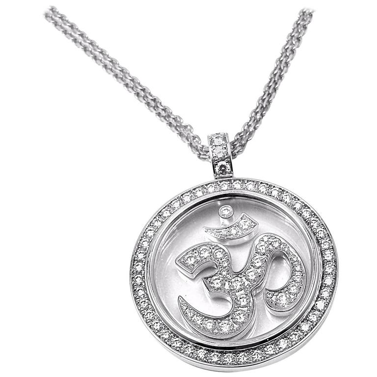 Chopard diamond gold om pendant necklace at 1stdibs chopard diamond gold om pendant necklace for sale mozeypictures Image collections