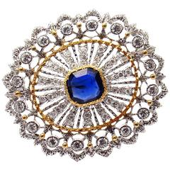 Buccellati Sapphire Diamond Two Color Gold Brooch Pin