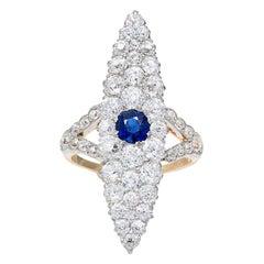 3.73 Carat Blue Sapphire Diamond Victorian Gold Platinum Cocktail Ring