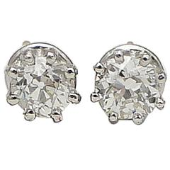 1.30 Carat Diamonds Platinum Stud Earrings