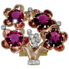 Cartier Gold and Platinum Tree Motif Clip