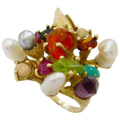 1970s Virgilio of Taxco Modernist Gemstone Cocktail Ring
