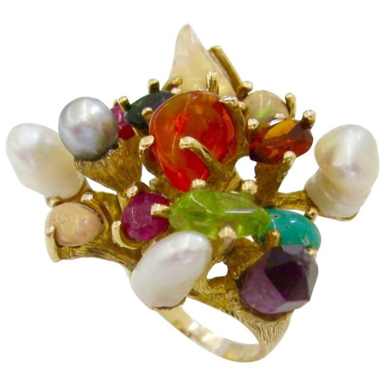1970s Virgilio of Taxco Modernist Gemstone Cocktail Ring For Sale