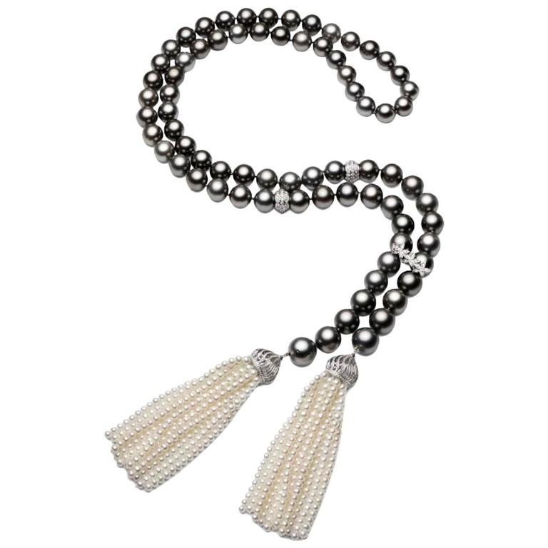 Tahitian Cultured Pearl Diamonds Tassel Necklace 1