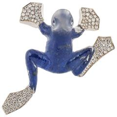Vhernier Rock Crystal Diamond Gold Frog Pin