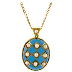 Victorian Pearl and Robin's Egg Blue Enamel Gold Locket