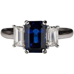 1.37 Carat Sapphire Diamond Gold Ring