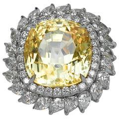 Bespoke 28.87 Carat Natural Unheated Ceylon Sapphire Diamond Platinum Ring