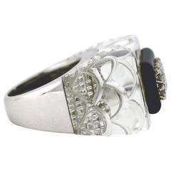 David Webb Amazing Rock Crystal Quartz Onyx Diamond Gold Ring