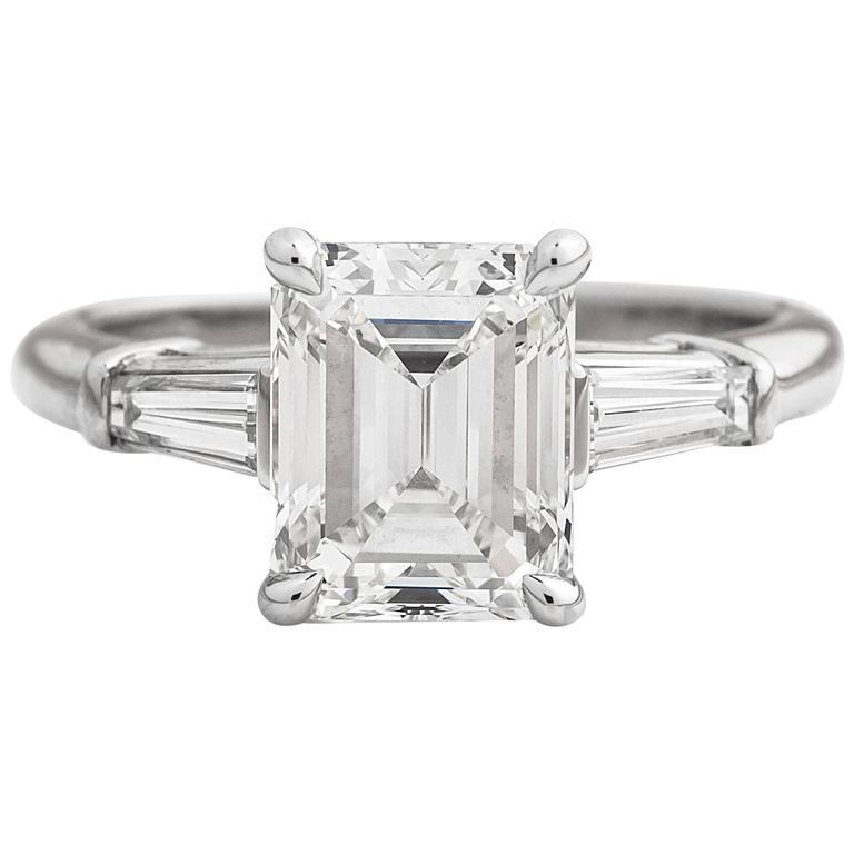 Tiffany And Co 2 17cttw Emerald Cut Diamond Platinum