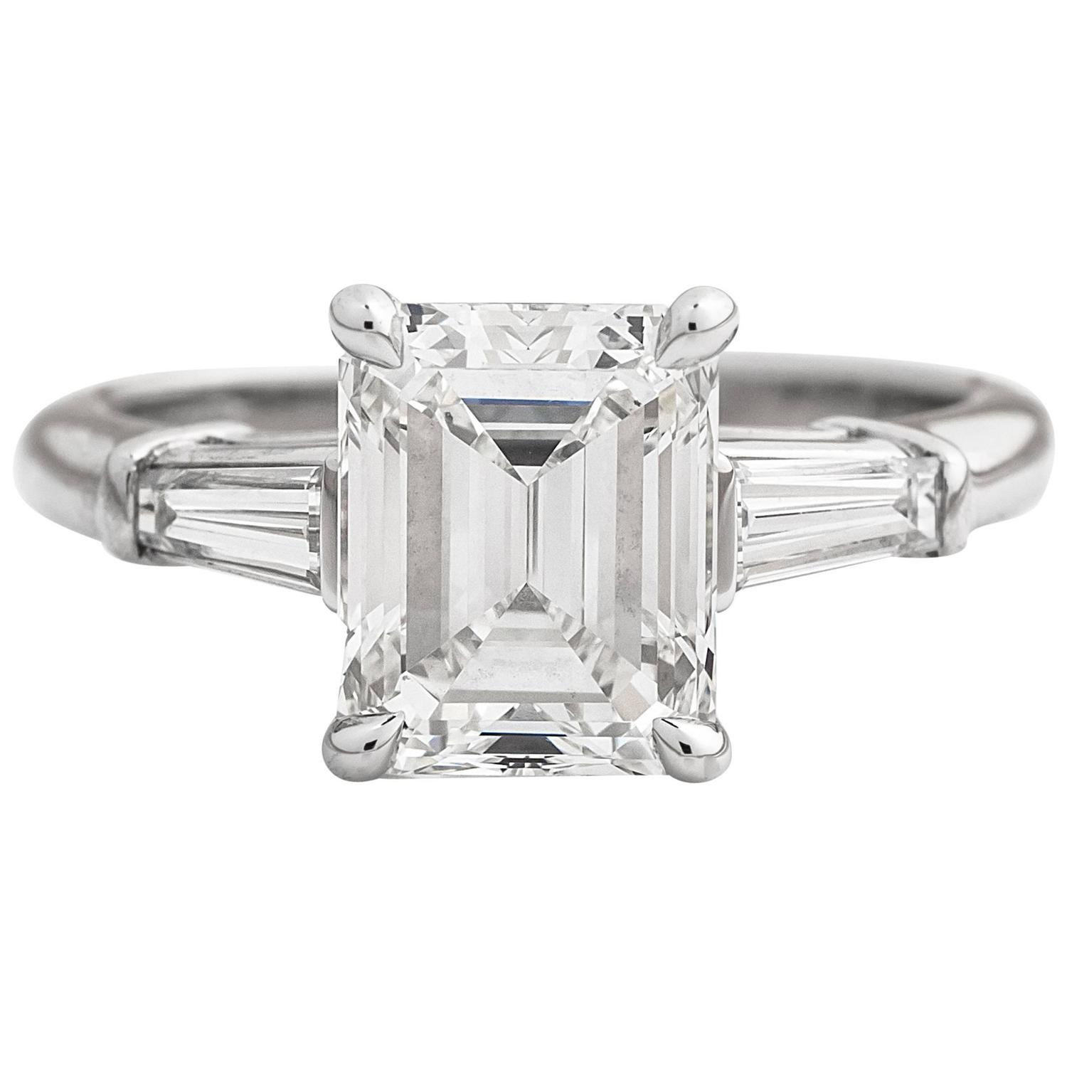 tiffany and co 2 17cttw emerald cut diamond platinum engagement