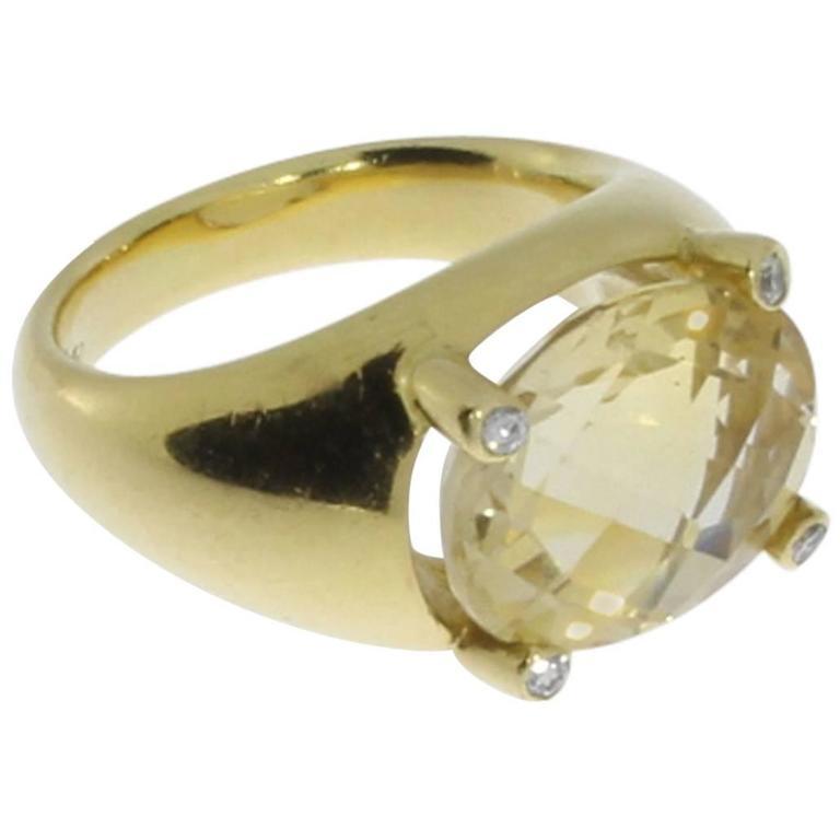 Beautiful Citrine Diamonds Gold Ring  1