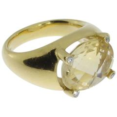 Citrine Diamond 18 Carat Gold Ring