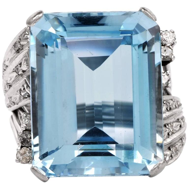 Aquamarine Diamond Platinum Ring 1
