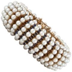 Tiffany & Co. Pearl Sapphire Gold Bracelet