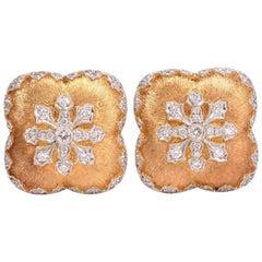 Snowflake Diamond Satin Finish Gold Clip-On Earrings
