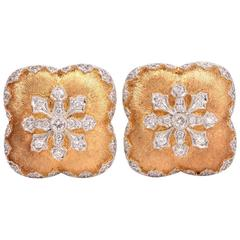 Snowflake Diamond Satin Finish Gold Clip On Earrings