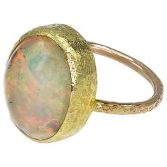 Opal Set in Textured Gold Ring