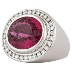 14K White Gold Rubelite Tourmaline Diamond Gold Ring