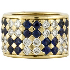 18K Yellow Gold Sapphire and Diamond Cigar Band