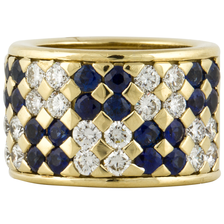 18K Yellow Gold Sapphire and Diamond Cigar Band
