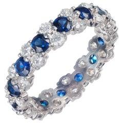 Peter Suchy 2.60 Carat Sapphire Diamond Platinum Eternity Band Ring