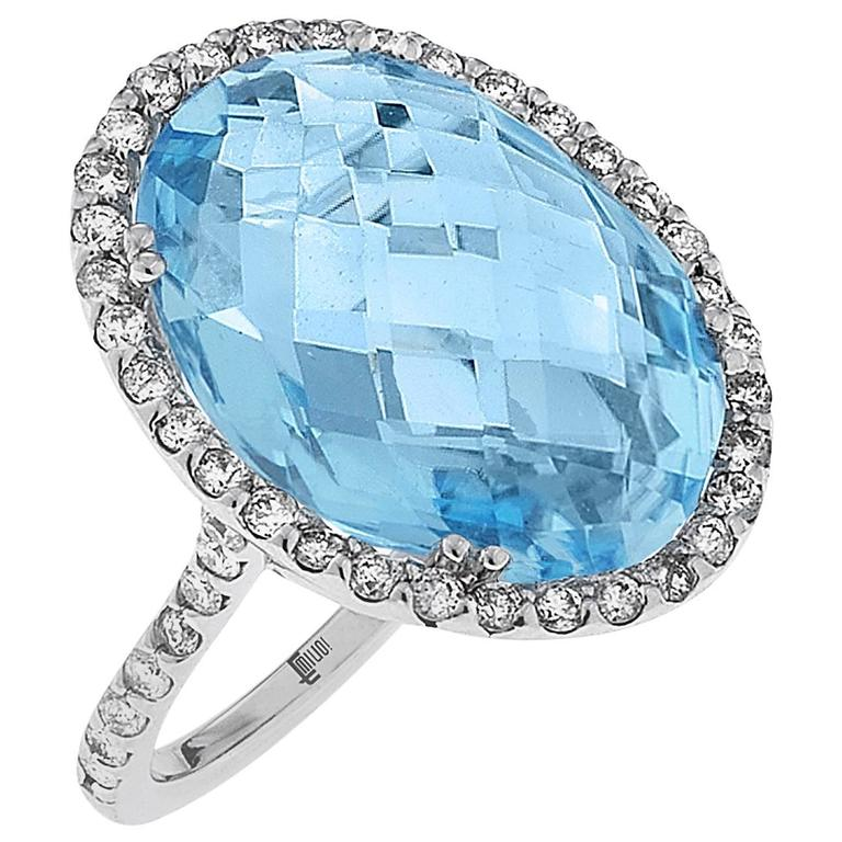 14.50 Carat Blue Topaz Diamond Gold Oval Ring 1