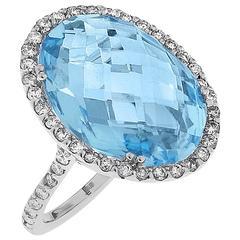 14.50 Carat Blue Topaz Diamond Gold Oval Ring