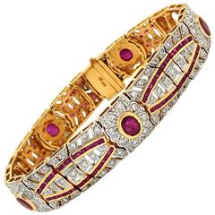 Stunning Ruby Diamond Gold Bracelet