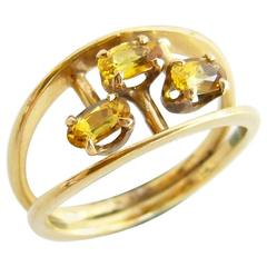 Jack Nutting Yellow Sapphire Gold Modernist Ring