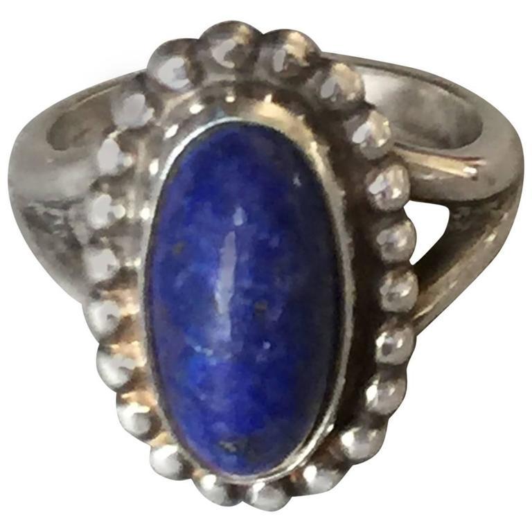 Georg Jensen Lapis Lazuli Sterling Silver Ring No. 9