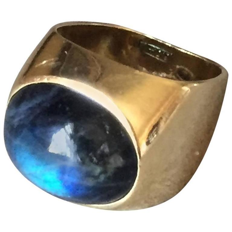 georg jensen labradorite gold ring for sale at 1stdibs. Black Bedroom Furniture Sets. Home Design Ideas