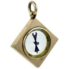 Antique Gold Compass Charm Pendant