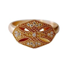 Luca Jouel 18ct Rose Gold & Diamond Modern Arabe Ring