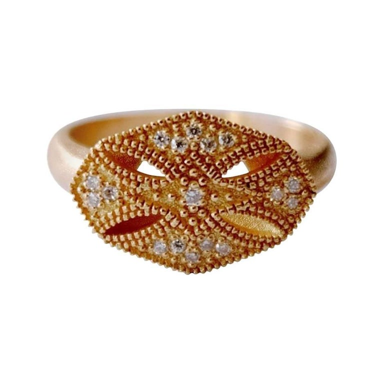 Luca Jouel Diamond Gold Modern Arabe Ring