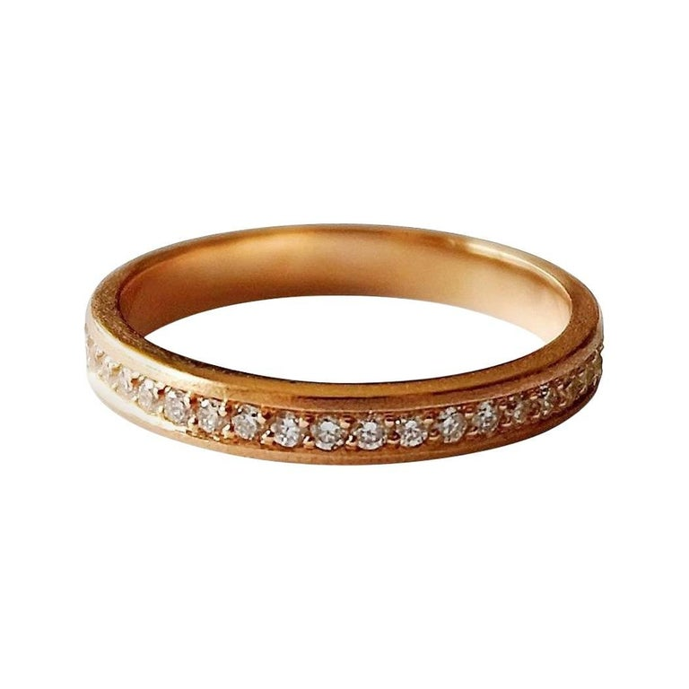 Luca Jouel White Diamond and Rose Gold Band Ring