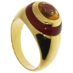 Citrine Carnelian Gold Ring