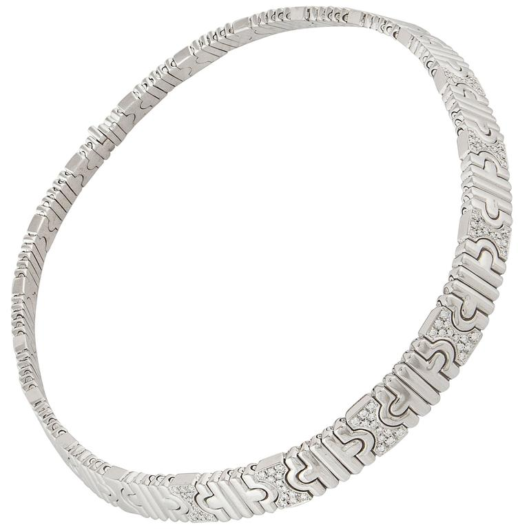 Bulgari Diamond Gold Parentesi Necklace