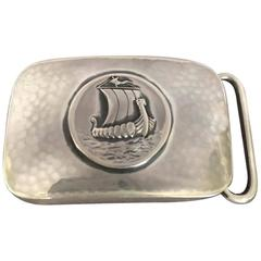 "Georg Jensen Very Rare Sterling Silver ""Viking Ship"" Belt Buckle No. 59B"