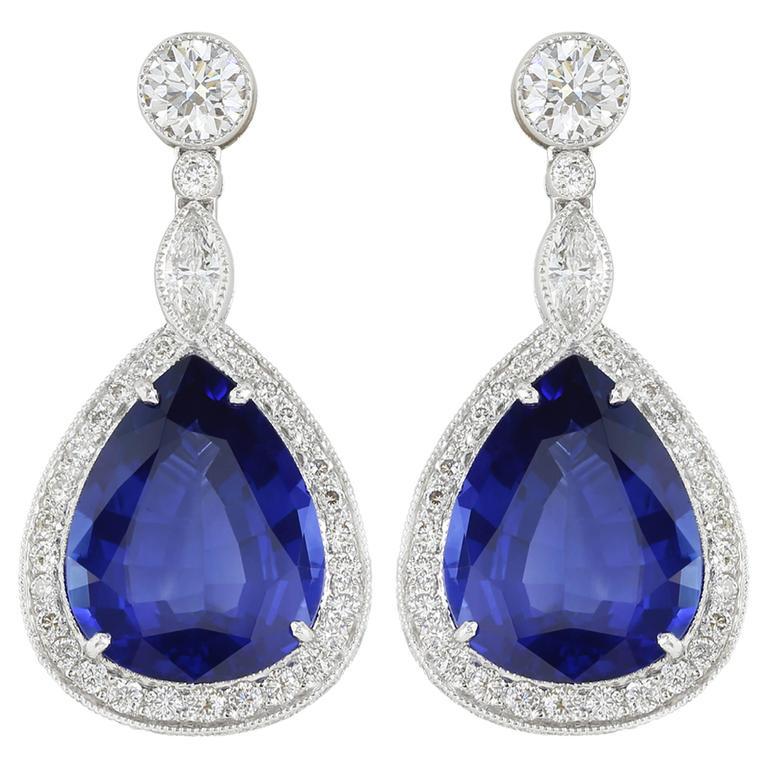 Pear Shape Sapphire Diamond Gold Platinum Earrings