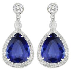 Pear Shape Sapphire Diamond Gold Platinum Earrings